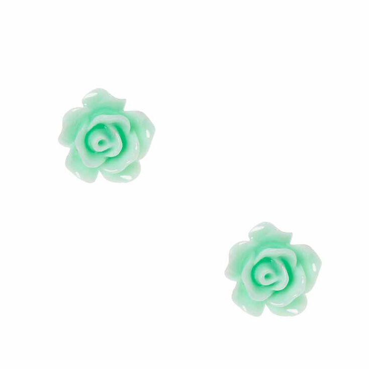 Mint Carved Rose Stud Earrings,