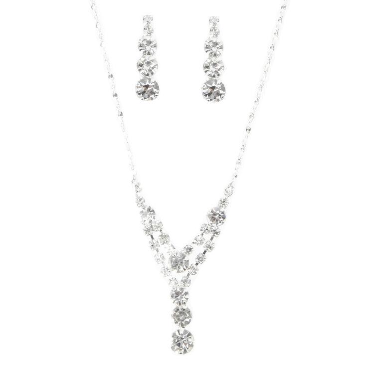 Silver Rhinestone Chevron Tiered Y-Necklace & Earring Set,
