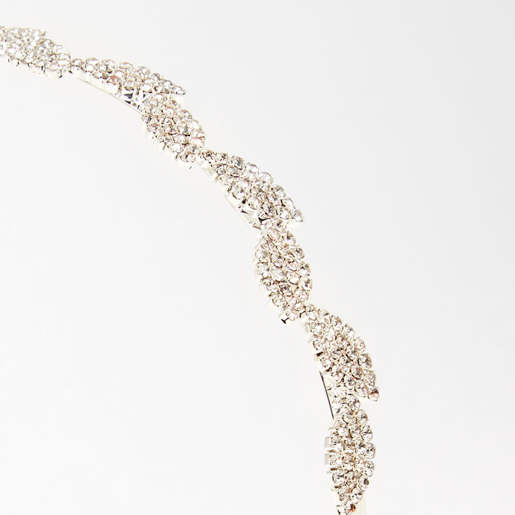 Silver Pave Rhinestone Leaf Headband,