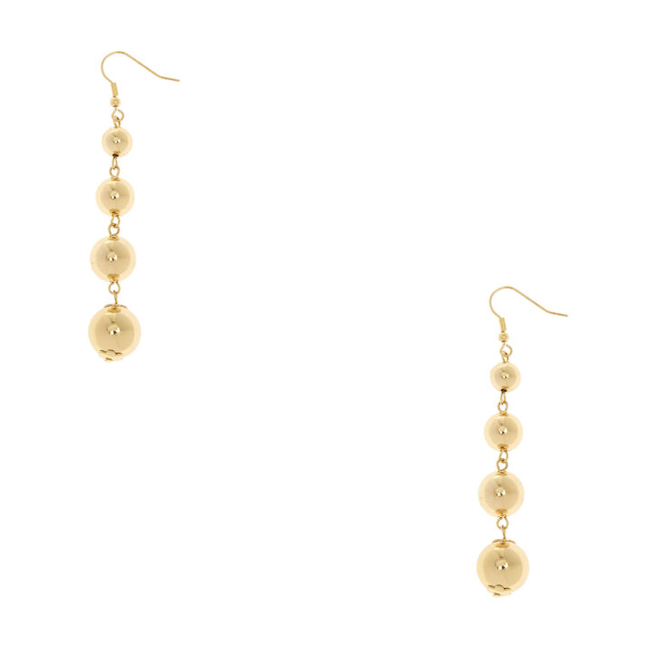 Gold Tone Graduated Ball Drop Earrings,