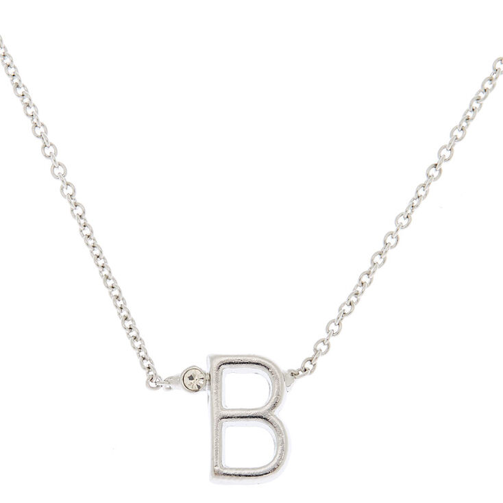 Silver Initial Necklace - B,