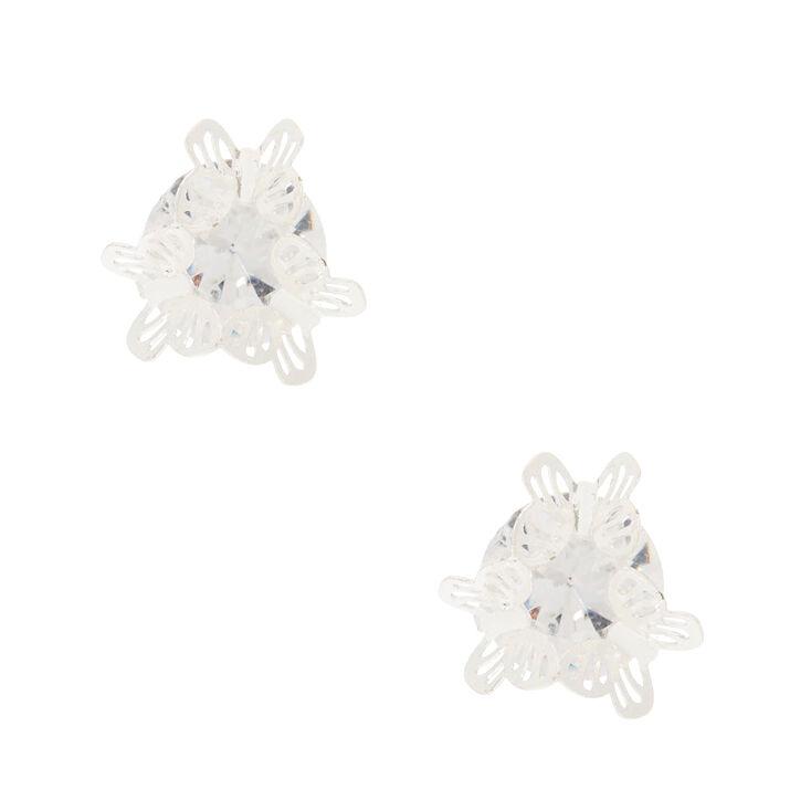 10MM Cubic Zirconia Butterfly Stud Earrings,