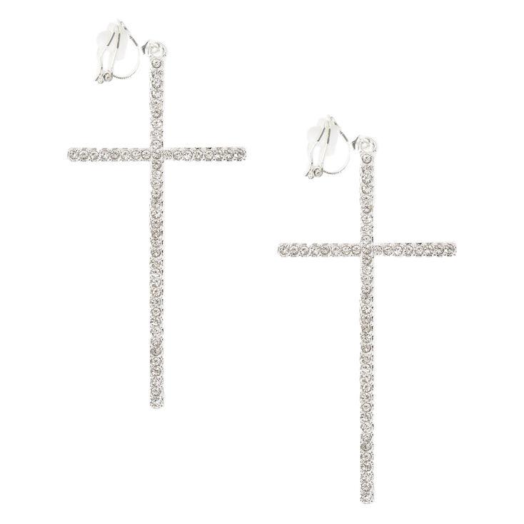 Silver Tone Gl Stone Large Cross Clip On Drop Earrings