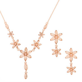Rose Gold Rhinestone Spring Floral Jewelry Set - 2 Pack,