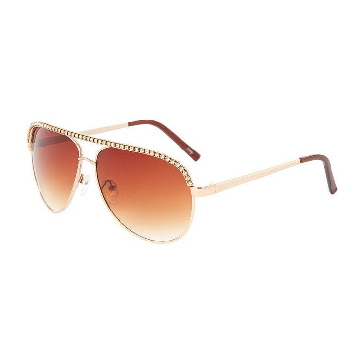 Stacy Gold & Rhinestone Aviator Sunglasses,