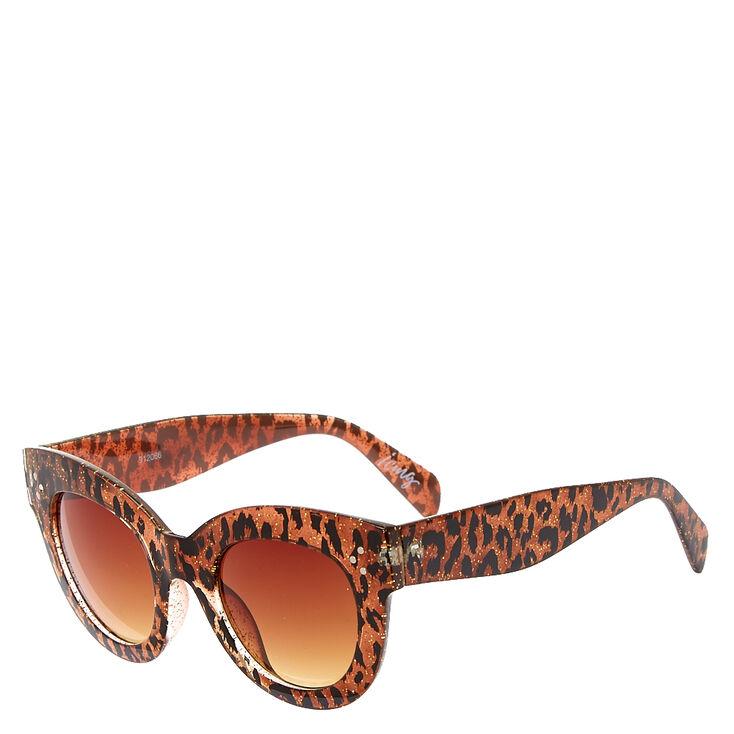 Retro Gold Leopard Print Sparkling Sunglasses,