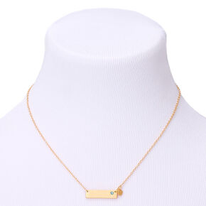 Gold March Birthstone Bar Pendant Necklace - Aquamarine,