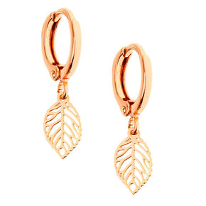 18kt Rose Gold Plated Leaf Huggie Hoop Earrings,