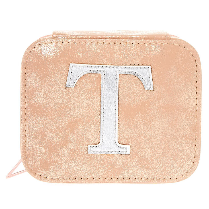 "Blush Pink ""T"" Initial Jewelry Case,"