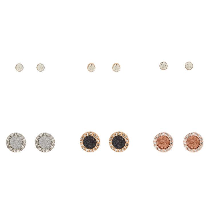 Mixed Metal Stud Earrings - 6 Pack,