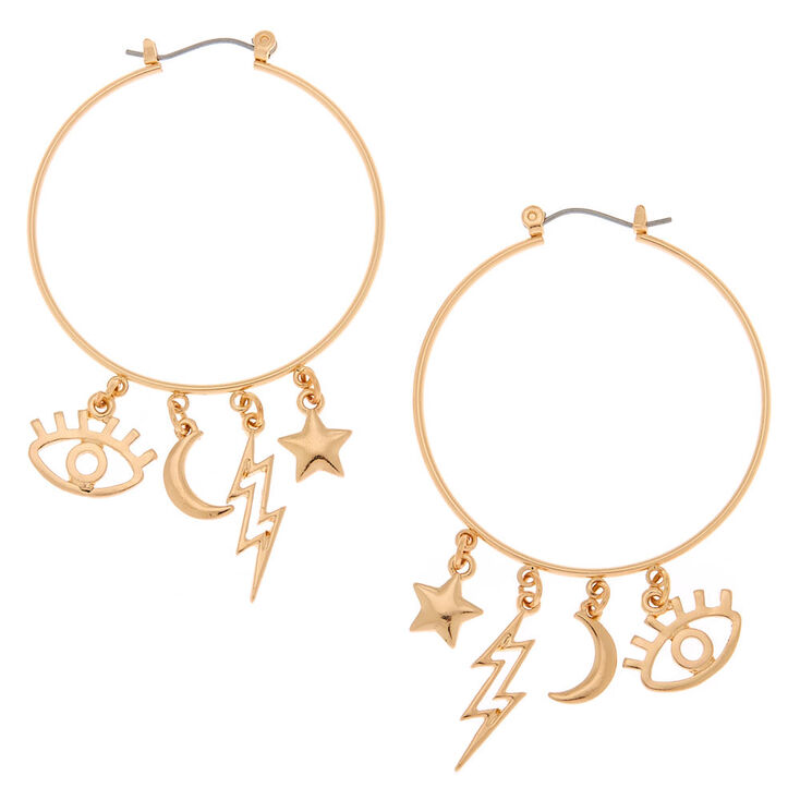 Gold 40MM Eye Charm Hoop Earrings,