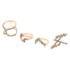 Rose Gold Edgy Rings - 4 Pack,