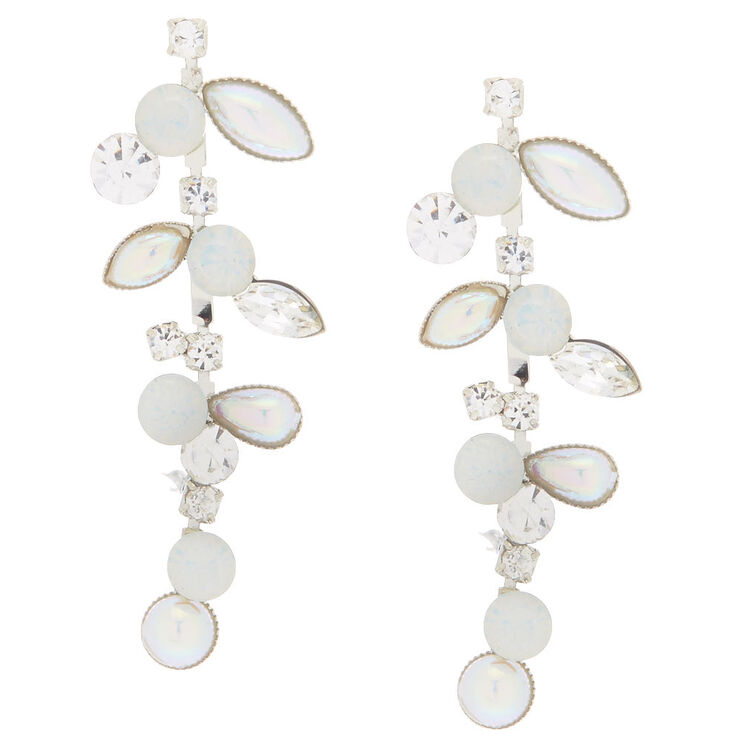 "Silver 2"" Mermaid Pearl Vine Drop Earrings,"