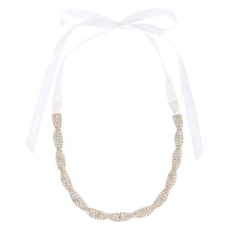 Clear Woven Crystal & White Ribbon Choker Headwrap,