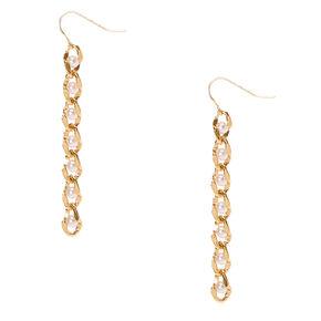 Gold Tone & Pearl Chain Drop Earrings,