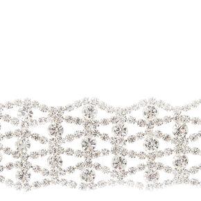 Silver Glass Rhinestone Choker Necklace,