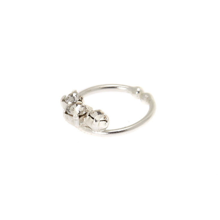 Sterling Silver Embellished Faux Cartilage Hoop Earring,