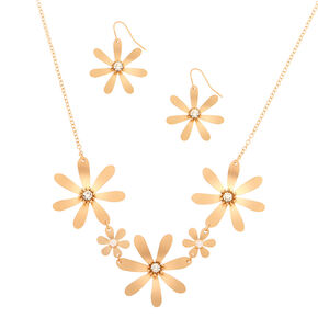 Brushed Gold Floral Jewelry Set - 2 Pack,