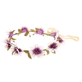 Purple Glitter Flower Crown,