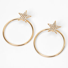 "Gold 1.5"" Embellished Star Circle Drop Earrings,"