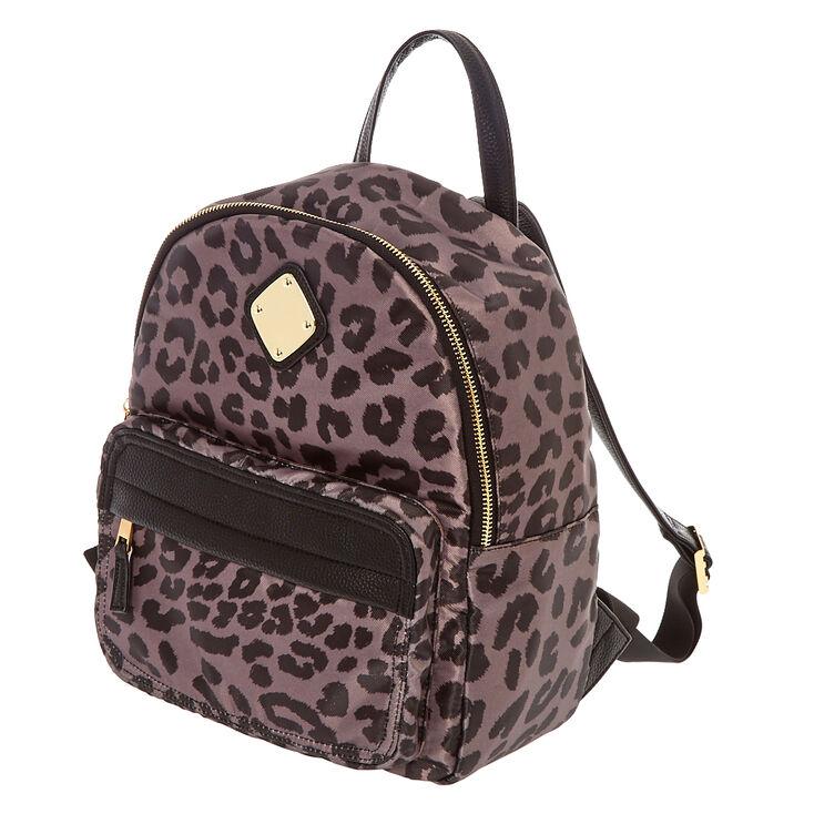 Leopard Print Satin Medium Backpack - Gray,