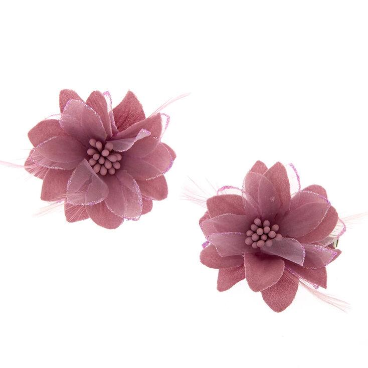 Purple Flower Hair Clips - 2 Pack,