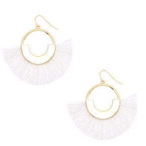 """2"""" Geometric Fan Tassel Drop Earrings - White,"""