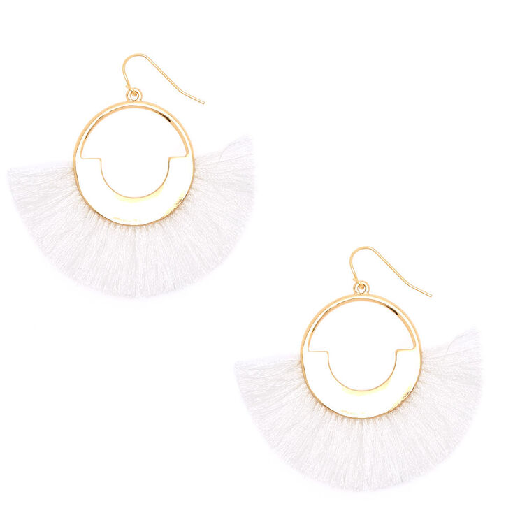 "2"" Geometric Fan Tassel Drop Earrings - White,"