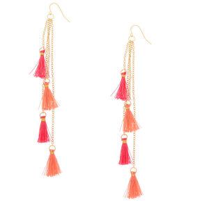 Gold Hot Pink Tassel Drop Earrings,