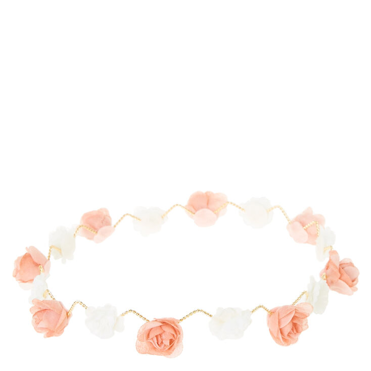 Peach & White Zig Zag Flower Crown,