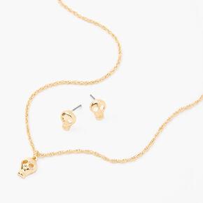 Gold Skull Pendant Jewelry Set - 2 Pack,
