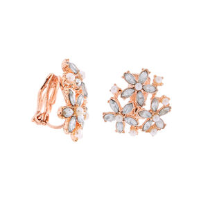 Rose Gold Cluster Flower Clip On Stud Earrings,