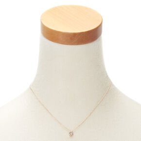 Rose Gold Embellished Initial Pendant Necklace - O,