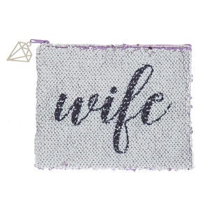 Reversible Sequin Fiance/Wife Makeup Pouch - Purple,