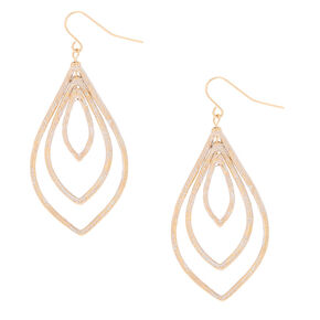"Gold 2"" Triple Teardrop Drop Earrings,"