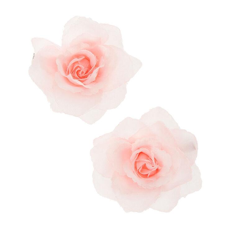 Mini Rose Flower Hair Clips - Light Pink, 2 Pack,