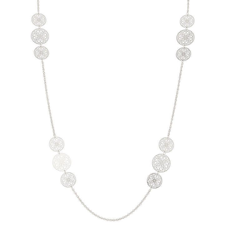 Silver Filigree Long Necklace,