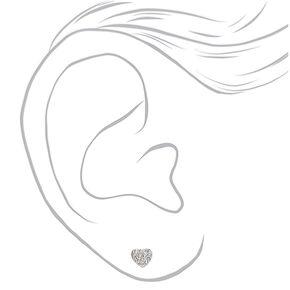 Silver Crystal Stud Earrings - 6 Pack,