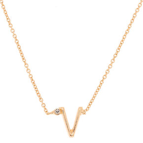 Gold Stone Initial Pendant Necklace - V,