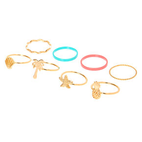 Gold Tropical Rings - 8 Pack,