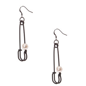 Black Safety Pin with Pearl Earrings,