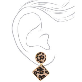 Gold Fuzzy Leopard Drop Earrings,