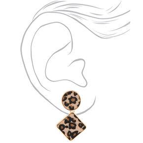 Gold Fuzzy Leopard Drop Earrings,