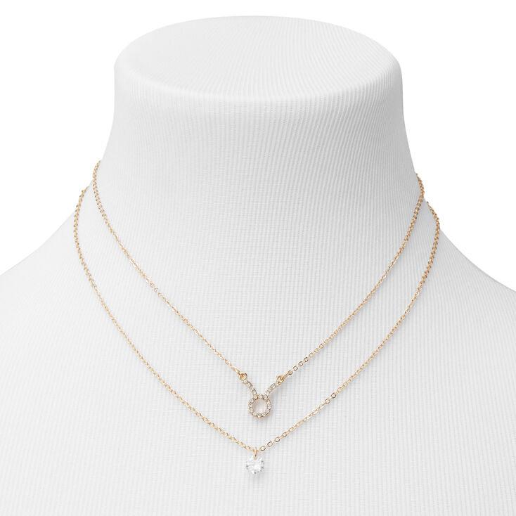 Gold Cubic Zirconia Zodiac Multi Strand Necklace - Taurus,