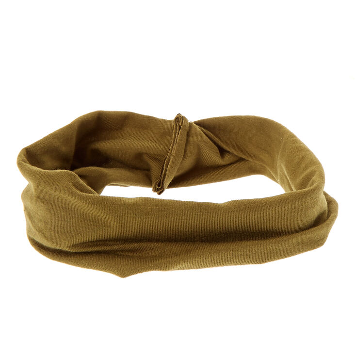 Olive Green Knotted Jersey Headwrap,