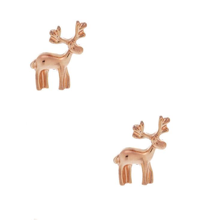 Rose Gold Reindeer Stud Earrings,