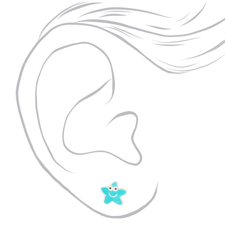 Sterling Silver Smiley Starfish Stud Earrings - Teal,
