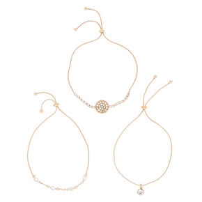 Rose Gold Glass Rhinestone Statement Bracelets - 3 Pack,