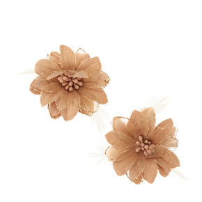 Champagne Lily & Feathers Hair Clips,