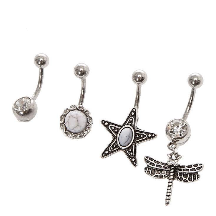 Silver Toned Dragonfly Belly Button Rings